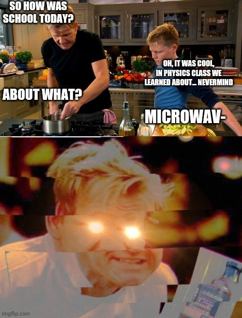 funny hilarious dank memes random dump dark humor spicy dirty gaming video game 2020 shitposts shitposting dating fail bus drivers wikipedia | Gordon Ramsay SO SCHOOL TODAY? OH COOL PHYSICS CLASS LEARNED ABOUT. NEVERMIND ABOUT MICROWAV- imgflip.com