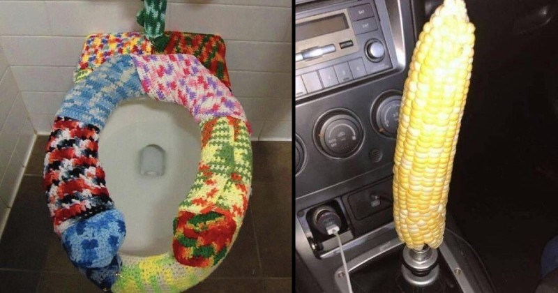 strange and wtf images | knitted cover for a toilet seat | whole entire corncob replacing a gear stick in a car