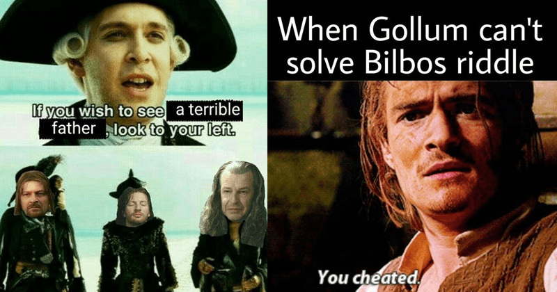 Dank, funny and dumb lord of the rings and pirates of the caribbean crossover memes | If wish see terrible father look left | Orlando Bloom Legolas and Will Turner Gollum can't solve Bilbos riddle cheated