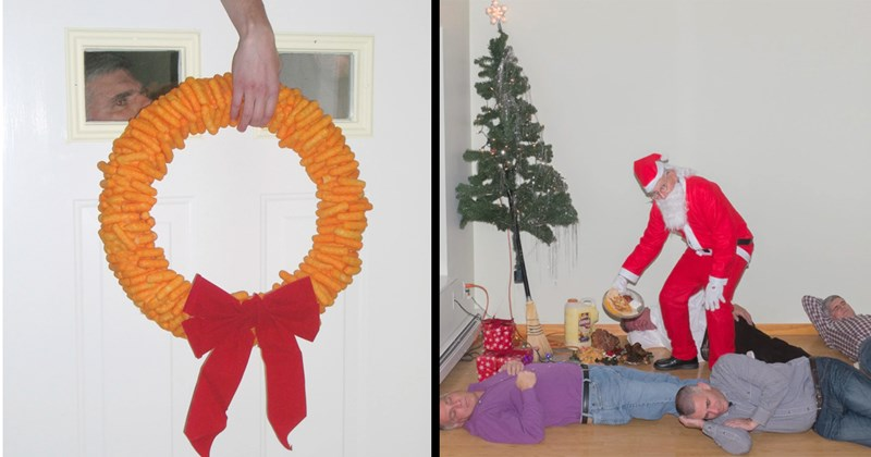 cursed images, cursed food, chris maggio, photography, cursed, cringe, christmas, memes, christmas memes, santa, sketchy santas, funny, weird, eggnog, festive, what the fuck, holidays, gross, funny pics | christmas holiday wreath made of cheetos | Santa Claus standing between people sleeping on the floor