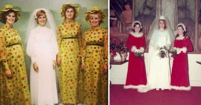 hideous vintage bridesmaid dresses which are total eyesores | thumbnail includes two pictures of ugly bridesmaid dresses