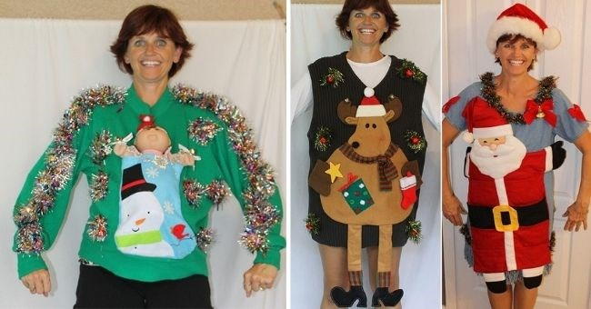 woman creates ugly christmas sweaters and sells them on Etsy   thumbnail includes three pictures of woman with ugly sweaters