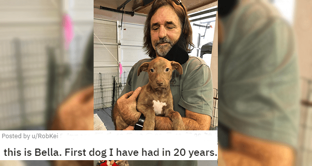 all the newly adopted rescue animals of the week - thumbnail includes a picture of a man holding a puppy 'This is Bella. First dog I have had in 20 years'