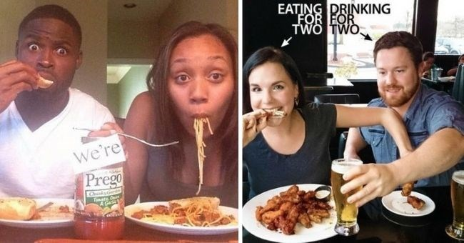 pictures of creative pregnancy announcements | thumbnail includes two pictures of pregnancy announcements couple eating spaghetti with prego sauce | and woman eating for two while man drinks for two