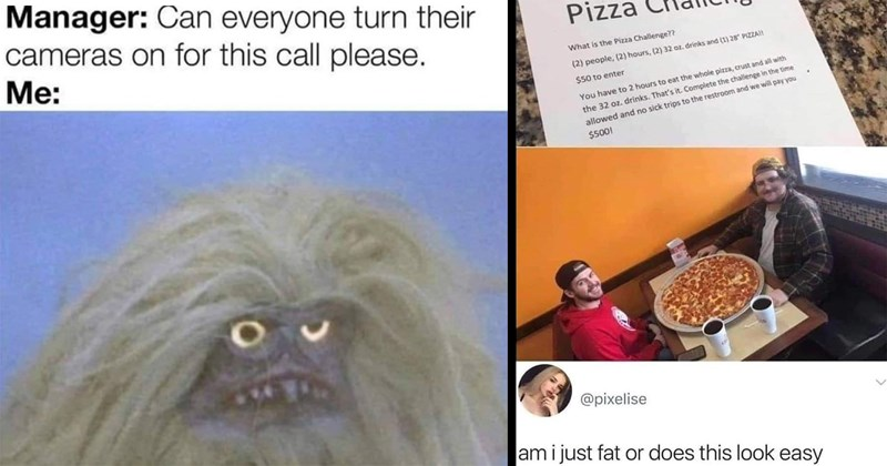 funny memes, memes, dank memes, relatable memes, twitter memes, funny, relatable, christmas memes, covid-19 memes, quarantine memes, holidays, parenting memes, funny twitter | Manager: Can everyone turn their cameras on this call please grumpy hairy creature | Pizza Challenge 2 people 2 hours 2 32 oz. drinks and 28 PIZZA $50 enter have 2 hours eat whole pizza, crust and all with drinks Complete challenge time allowed and no sick trips restroom and will pay 500 am just fat or does this look easy