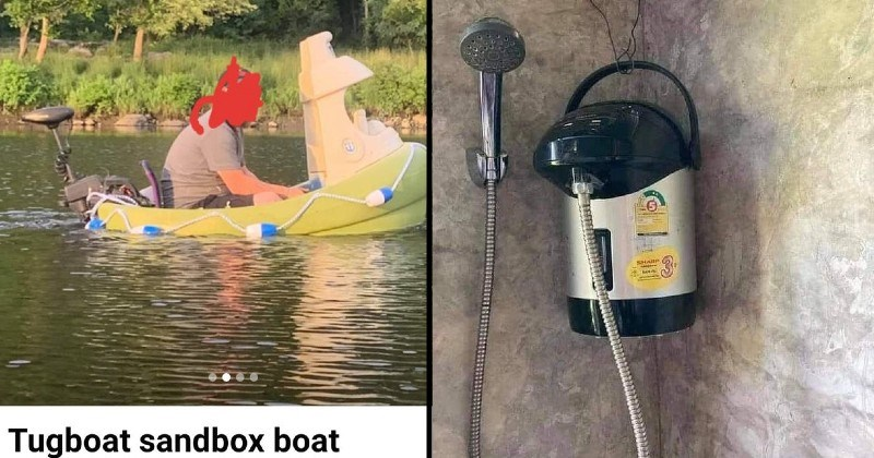 Bad and funny DIY solutions | Tugboat sandbox boat person floating in a small boat | shower head attached to a water container hanging on the wall