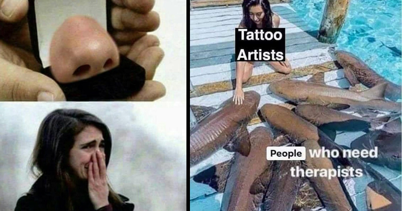 funny random memes, dank memes, nerdy memes, relatable memes | ring box opened to reveal a nose and pic of an emotional woman covering her nose with her hand | Tattoo Artists People who need therapists woman petting sharks