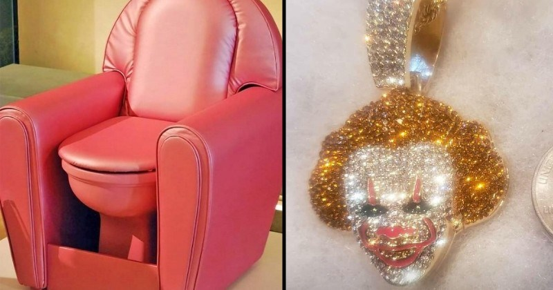 impressive things people made that are still weird and bad | pink toilet built inside a matching armchair | bedazzled creepy clown ornament
