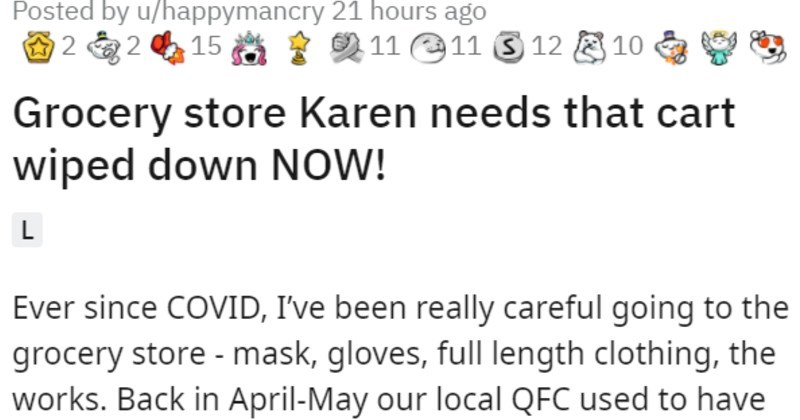 Karen wants cart, customer won't give it up | Posted by u/happymancry 21 hours ago 2 2 15 2 11 e11 S 12 E 10 9 3 Grocery store Karen needs cart wiped down NOW! L Ever since COVID been really careful going grocery store mask, gloves, full length clothing works. Back April-May our local QFC used have workers spray and wipe down carts; but after few months they stopped, and now there are self- serve wipes available all customers disinfect their cart if they want. Well, apparently some people didn't