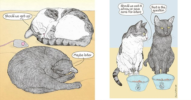 list of cats comics talking and discussing decisions - thumbnail of two cats sleeping and two cats about to eat | Should get up? Maybe later | Should eat all now or save Some later is question