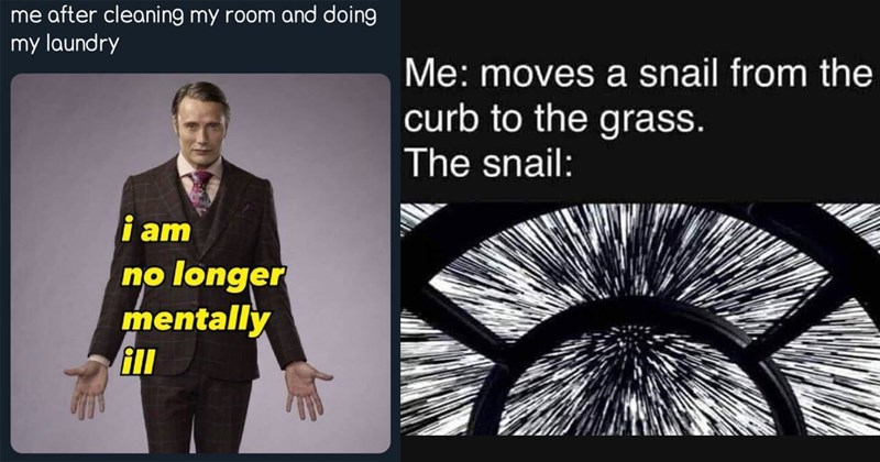 funny memes, memes, funny, lol, random memes, shitposts, twitter memes, funny tweets, relatable memes, mental health memes, depression memes, cat memes, star wars, dank memes, stupid memes | dave rocketmIm after cleaning my room and doing my laundry am no longer mentally ill Hannibal Mads Mikkelsen | moves snail curb grass snail: