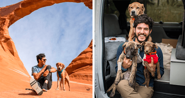 story about a rescued dog travelling the world that is helping others rescue other dogs thumbnail includes two pictures including a dog and a man in the desert and another of a man holding up two puppies and a dog behind him