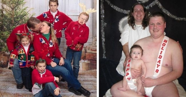 disturbing awkward vintage family Christmas photos | thumbnail includes two family photos