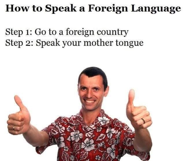 bad life hacks, funny life hacks, funny advice | Person - Speak Foreign Language Step 1: Go foreign country Step 2: Speak mother tongue