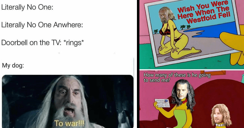 tolkien tuesday funny lotr memes lord of the rings | Literally No One: Literally No One Anywhere: Doorbell on TV rings My dog war Saruman | Wish Were Here Westfold Fell many these is he going send Denethor Theoden