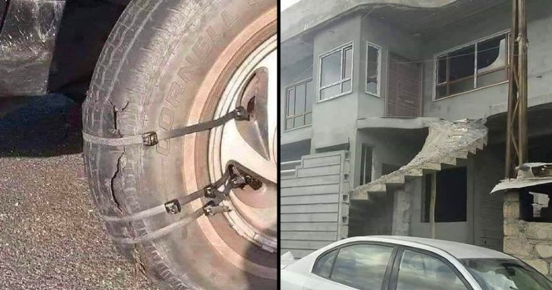 funny not my job moments and fails | broken car wheel held together by zip locks | concrete spiral staircase leading from the second floor to nowhere ending abruptly