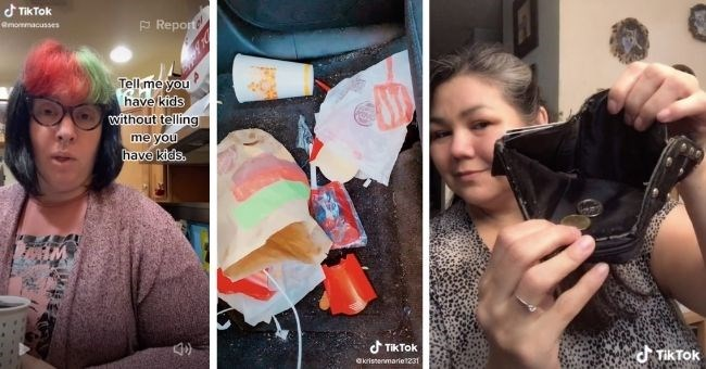 funny tiktok of parents show that they have kids without saying they have kids | thumbnail includes three images trash and junk food wrappers on the car's floor and woman showing an empty wallet