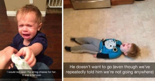 funny reasons kids threw tantrums | thumbnail includes two pictures of kids throwing tantrums Text - I would not open the string cheese for her. It was a tampon. He doesn't want to go (even though we've repeatedly told him we're not going anywhere)