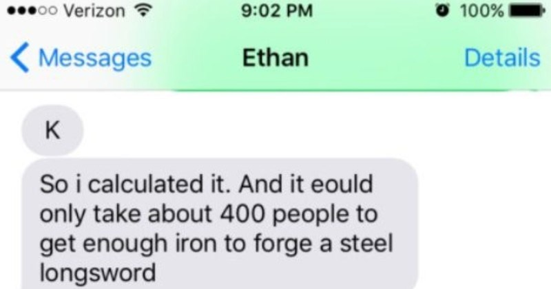 "A ridiculous Tumblr thread about forging a longsword from the blood of one's enemies. | Ethan Details K So calculated And eould only take about 400 people get enough iron forge steel longsword U know fantasy books talk about swords ""forged with blood enemies"""