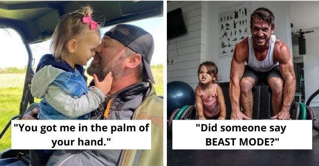 "heartwarming pictures of dads embracing fatherhood - thumbnail includes pictures of dads with kids Text - ""you got me in the palm of your hand"", ""did someone say BEAST MODE?"""