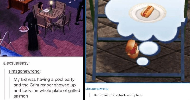 Funny, creepy, and cursed images from The Sims. | alexsuareasy: simsgonewrong: My kid having pool party and Grim reaper showed up and took whole plate grilled salmon rude | simsgonewrong He dreams be back on plate hot dog in a bun
