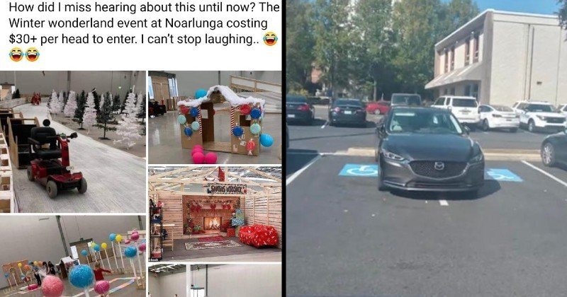 funny cringeworthy and bad trashy moments | did miss hearing about this until now Winter wonderland event at Noarlunga costing $30+ per head enter can't stop laughing | car taking up parked in the middle of two handicap parking spots