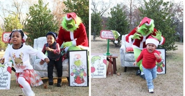 funny pictures of kids being terrified by the Grinch | thumbnail includes two pictures of kids running away from the Grinch dressed like Santa Claus