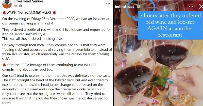 "Restaurant calls out lying lobster influencers | Silver Pearl Venues WARNING: SCAMMER ALERT On evening Friday 25th December 2020 had an incident at our venue involving family 4 They ordered bottle red wine and 1 live lobster and requested be served sashimi style. This all they ordered, nothing else. Halfway through their meal they complained us they were ""feeling sick"" and accused us serving them frozen lobster, instead fresh/ live lobster, which apparently reason them feeling sick note"