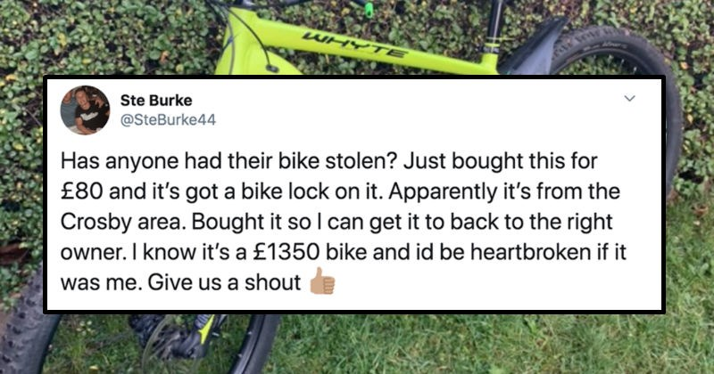 Man buys an expensive bike from a thief, and ends up returning it to the owner. | Ste Burke @SteBurke44 Has anyone had their bike stolen? Just bought this 80 and 's got bike lock on Apparently 's Crosby area. Bought so can get back right owner know 's 1350 bike and id be heartbroken if Give us shout