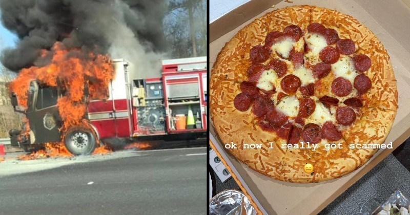 mistakes, messes, failures and chaos | fire truck burning in flames | ok now really got scammed pepperoni pizza that's almost entirely crust