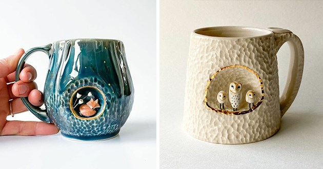 ceramic mugs with animals living inside them - thumbnail of mug with a fox sleeping inside of it and a mug with three owls living inside the mug