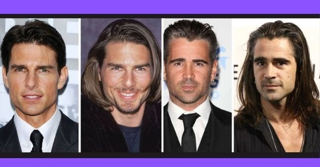 male celebrities try out long hair styles | thumbnail pictures of Tom Cruise and Collin Farrel