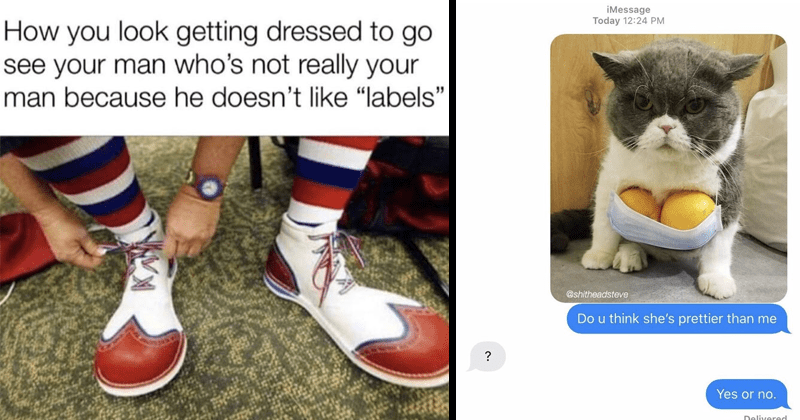 "Funny random memes, stupid memes, dnak memes, funny | look getting dressed go see man who's not really man because he doesn't like ""labels"" putting on clown shoes 