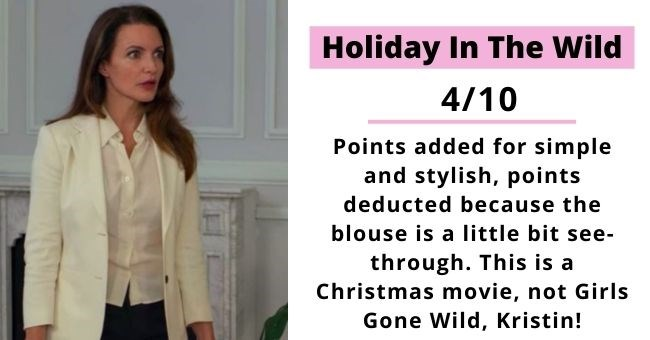 we rated the outfits from women in top wholesome Christmas movies and here's what we found | thumbnail Holiday In The Wild 4/10 Points added for simple and stylish, points deducted because the blouse is a little bit see- through. This is a Christmas movie, not Girls Gone Wild, Kristin!