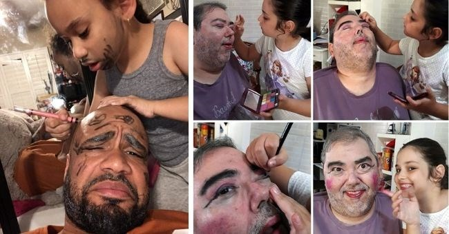 daughters who enjoyed giving their dads makeovers | thumbnail includes images of daughters giving dads makeovers