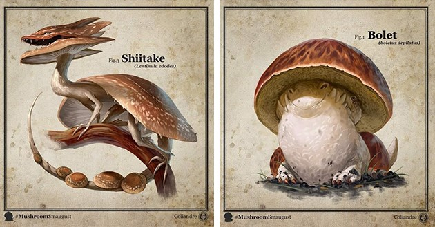 art creates incredible mushroom dragons - thumbnail of two mushroom dragons | Shiitake Fig.3 (Lentinula edodes MushroomSmaugust Coliandre | Bolet Fig.1 (boletus depilatus MushroomSmaugust Coliandre