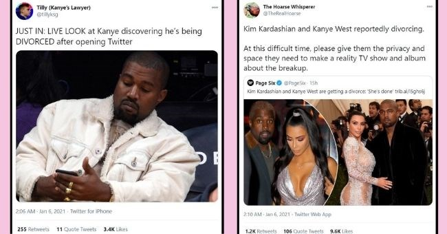 funny tweets about Kimye getting a divorce | thumbnail Tilly Kanye's Lawyer tillyksg JUST LIVE LOOK at Kanye discovering he's being DIVORCED after opening Twitter | Hoarse Whisperer @TheRealHoarse 000 Kim Kardashian and Kanye West reportedly divorcing. At this difficult time, please give them privacy and space they need make reality TV show and album about breakup. Page Six @PageSix Kim Kardashian and Kanye West are getting divorce She's done