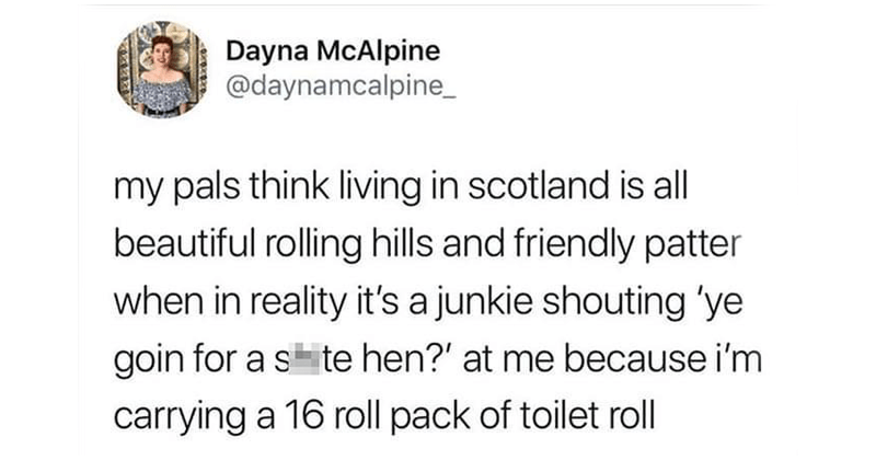 Funny Scottish Tweets, scots, twitter memes, lol, politics, scotland, language, funny | Dayna McAlpine @daynamcalpine_ my pals think living scotland is all beautiful rolling hills and friendly patter reality 's junkie shouting 'ye goin s te hen at because carrying 16 roll pack toilet roll