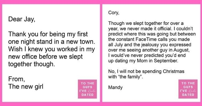 funny letters of disappointment from women to the guys they've dated | thumbnail includes two letters - Text - Dear Jay, Thank you for being my first one night stand in a new town. Wish I knew you worked in my new office before we slept together though. From, The new girl TO THE GUYS I'VE Kinda DATED Cory, Though we slept together for over a year, we never made it official. I couldn't predict where this was going but between the constant FaceTime calls you made all July and the jealousy you expr