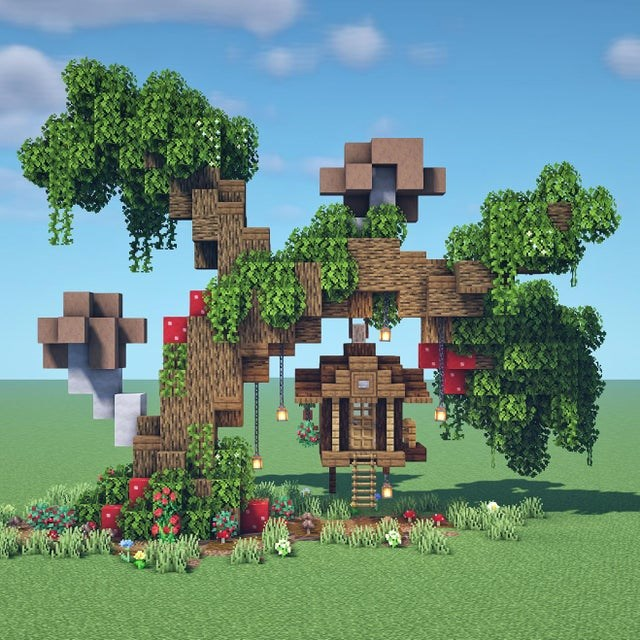 cool minecraft videos and pictures, video games, gaming | minecraft tree house build