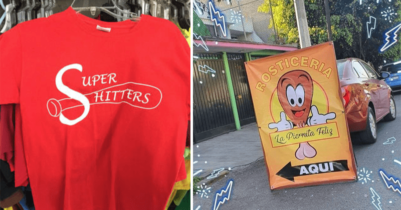 Funny and spicy graphic design fails | red shirt with a baseball bat drawing and the writing SUPER HITTERS which can also be read as SHITTERS | fried chicken leg with the bone part looking like testicles