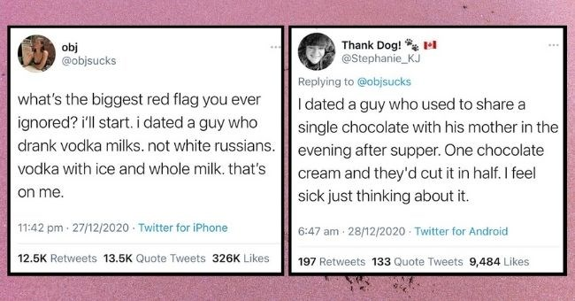 people share the biggest red flags they ignored in relationships | thumbnail Text - obj @objsucks 000 what's the biggest red flag you ever ignored? i'll start. i dated a guy who drank vodka milks. not white russians. vodka with ice and whole milk. that's on me. 11:42 PM Dec 27, 2020 Twitter for iPhone 12.5K Retweets 13.5K Quote Tweets 326.4K Likes, Thank Dog! M @Stephanie_KJ 000 Replying to @objsucks I dated a guy who used to share a single chocolate with his mother in the evening after su
