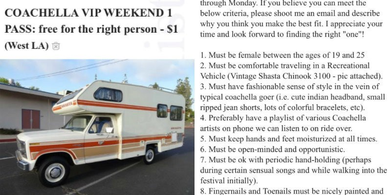 Craigslist posting of creepy dude with tickets to Coachella