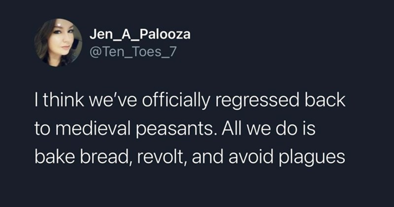 funny tweets, twitter, twitter memes, funny, twitter dump, 2021, donald trump, capitol, pandemic, current events, memes, relatable tweets, topical, random tweets | Jen_A_Palooza @Ten_Toes_7 think officially regressed back medieval peasants. All do is bake bread, revolt, and avoid plagues