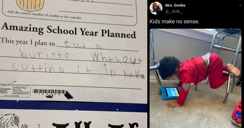 twitter, funny stories, kids, childhood, funny memes, parenting, funny tweets, stupid kids, funny, parents, children | Amazing School Year Planned This year plan eat burrito without cutting it in half | Mrs. Grotke BHB_ Kids make no sense. toddler watching a tablet in a funny handstand position