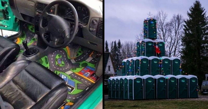 creations that are skillfully made but weird and bad taste | road map carpet inside a car | porta potties stacked on top of each other and wrapped in Christmas lights