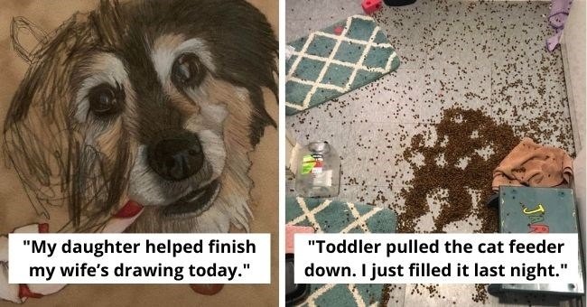 "funny pictures showing how annoying toddlers can be | thumbnail two images, of dof text - ""My daughter helped finish my wife's drawing today."" and mess on floor text - ""Toddler pulled the cat feeder down. I just filled it last night."""