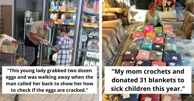 "heartwarming stories bringing all the feels | thumbnail two images text - ""This young lady grabbed two dozen eggs and was walking away when the man called her back to show her how to check if the eggs are cracked."" ""My mom crochets and donated 31 blankets to sick children this year."""