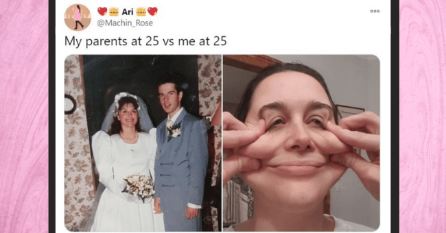 people are sharing their 'My Parents VS Me At The Same Age' and the differences are huge | thumbnail Text - Iveezy @Bloody5lveezy 00 My parents at 24 vs me at 24 3:33 AM Dec 7, 2020 · Twitter for iPhone 67.7K Retweets 3.9K Quote Tweets 633.8K Likes