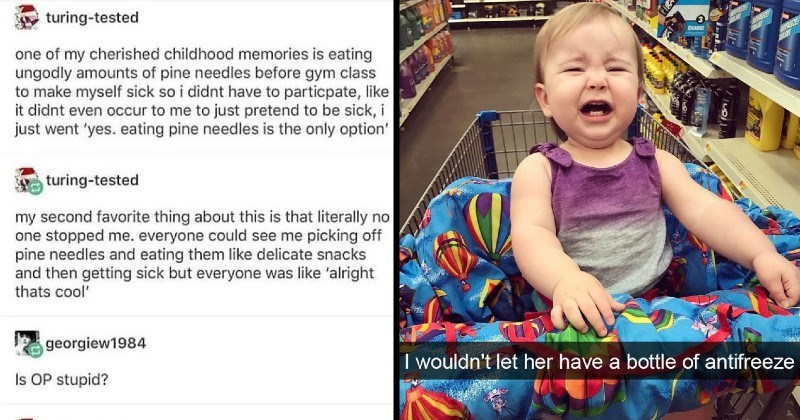 photos, tweets and stories of kids being strange and dumb people